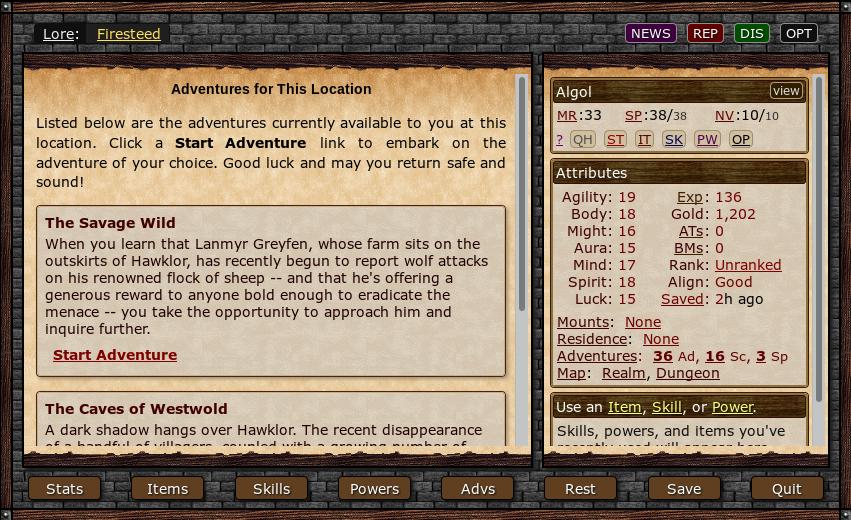 Sryth - browser-based fantasy text RPG
